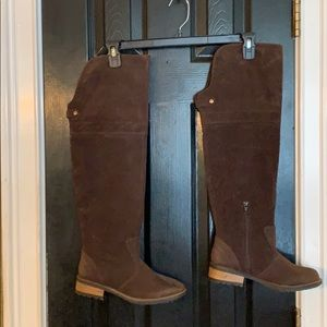 Brown over the knee suede boots 7.5